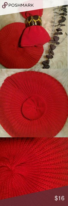 """Old Navy scarf/hat Women's candy apple red infinity scarf (100% polyester, 70""""×9"""") by Old Navy and a cute, comfy hat. The scarf was worn once for a few hours and the hat is NWOT. Wear them as a pair or separates. Price is firm unless bundled.  The price is so great, it's like getting  the hat for free!!😍😍. Old Navy & Unbranded Accessories Scarves & Wraps"""