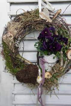 a unique product by H Spring Door Wreaths, Easter Wreaths, Summer Wreath, Deco Floral, How To Make Wreaths, Grapevine Wreath, Planting Flowers, Floral Arrangements, Garland