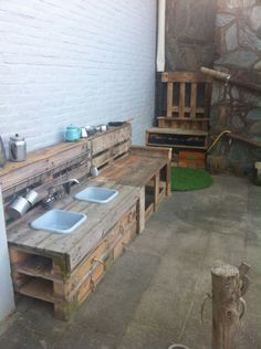 Outdoor mud kitchen for kids