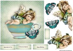 Cute Elve In Teacup on Craftsuprint designed by Marijke Kok - Very cute, sweet card for any special occasion, with a lovely elve in a teacup and vintage butterfly. - Now available for download!