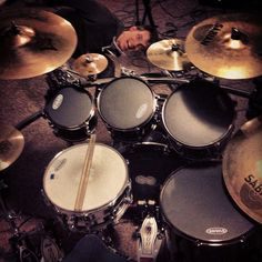 Aerial shot of my Tama Starclassic maplewood drum set. Sabian, Zildjian, and Paiste cymbals. Evans heads. DW 9000 pedals. I <3 being a drummer.