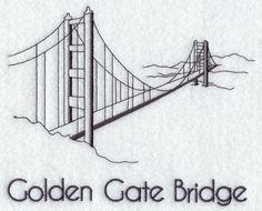 Machine Embroidery Designs at Embroidery Library! Bridge Tattoo, Bridge Logo, Puente Golden Gate, Bridge Drawing, Mail Art Envelopes, Building Sketch, 3d Wall Art, Vine Wall, San Francisco California