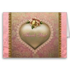Elegant Gold Pink and Green Thank You Card