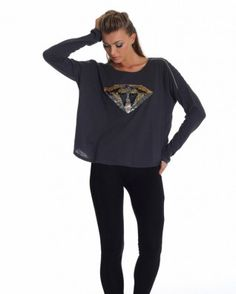 The Shanti Butterfly Diamond Queen Tee - Black