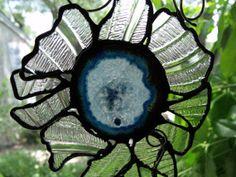 Original Glass Art Suncatcher, Blue Agate, Broken Plate, SunFlower