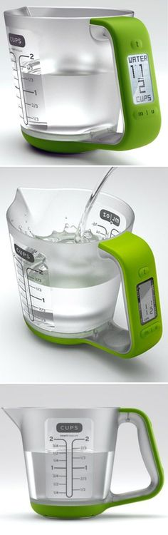 Measure water, milk, flour, sugar, oil and more with this digital scale. The measuring cup is detachable, so cleanup is fast and easy!