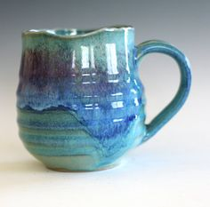 Coffee Mug with Uneven Rim 18 oz handmade ceramic cup by ocpottery