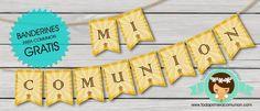 banderines para comunion en amarillo y blanco gratis - Buscar con Google Ideas Para Fiestas, First Communion, Scrap, Dulce Candy, Google, Ideas Party, First Holy Communion, Tat