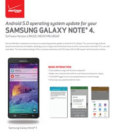 Verizon Samsung Galaxy Note 4 Upgraded to Android Lollipop Samsung Galaxy Smartphone, Verizon Wireless, Galaxy Note 4, Operating System, Software, Android, Notes, App, Tech