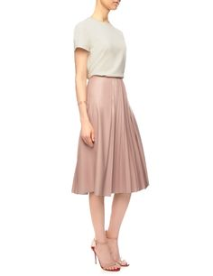 Nude Faux Leather Pleated Skirt | Cédric Charlier | Avenue32