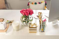 With it being back to school time already I thought I'd share a peek of my home office + some of my office essentials with you all today! The space isn't finished yet but I'm lovi…