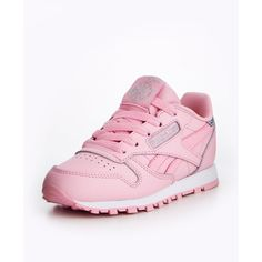 Reebok Reebok Classic Leather Pastel Childrens Trainer ($52) ❤ liked on Polyvore featuring shoes, sneakers, reebok trainers, leather trainers, pastel shoes, leather footwear and leather sneakers