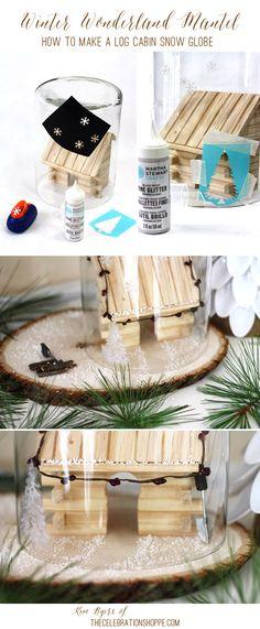 DIY Log Cabin Snow Globe & Winter Wonderland Christmas Mantel   Kim Byers, TheCelebrationShoppe.com