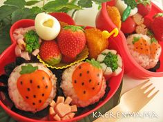 I do not speak Japanese, but I copied and pasted this... おしゃべりサンタウインナー弁当 into google and searched by image.