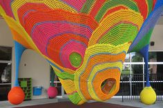 """- Exhibits that use unusual material choices - """"The Amazing Airways"""" exhibit @ the Children's Museum of Winston-Salem - Museum-goers can climb and play with this soft/fabric-like structure, while also experiencing and (hopefully) appreciating art, which is inspiring."""