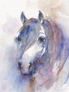 Portrait of a horse, Original watercolor painting, Aquarelle animal art, watercolor painting art. $85.00, via Etsy.