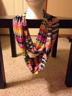 Women's Multi-Color Tribal Print Infinity Scarf/Actec Infinity Scarf on Etsy, $12.00