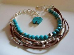 Leather Bracelet Silver Beads Turquoise by Redpeonycreations, $34.00