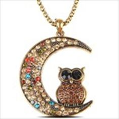 Fashionable Owl Design Necklace Neck Chain Pendants Jewelry with Rhinestone Ornament for Ladies Girls