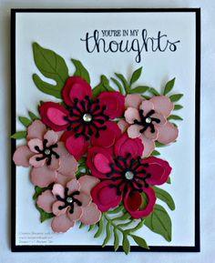A Thoughtful Card using Stampin' Up! Botanical Gardens Bundle (Botanical Builder Framelits & Botanical Blooms Stamp Set), Melon Mambo, Blushing Bride, Old Olive Card Stock
