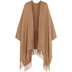 Acne Studios Fringed wool wrap ($360) ❤ liked on Polyvore featuring tops, cardigans, jackets, outerwear, casacos, brown, brown cardigan, crewneck cardigan, brown fringe top and wrap style tops