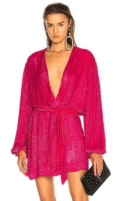 Pink Long Sleeve Wrap Robe Dress - This is a wonderful example of how sexy a long sleeve mini dress can look with long sleeves David Koma, Tent Dress, Pink Mini Dresses, Long Sleeve Mini Dress, New Trends, Brown And Grey, Designer Dresses, Fashion Design, Women's Fashion