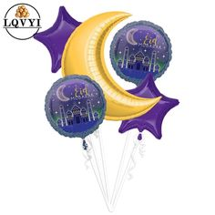 Eid Balloons, Helium Balloons, Birthday Balloons, Ramadan Decorations, Balloon Decorations, Birthday Decorations, Aid El Fitr, Eid Mubarak Banner, Ramadan Lantern
