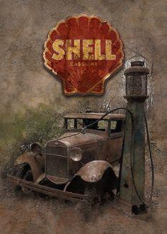 Vintage car at an old gas pump Old Gas Pumps, Print Artist, Cool Artwork, Metallica, Illustrations Posters, Vintage Cars, Poster Prints, Cards, Autos