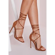 Missguided Lace Up Barely There Heeled Sandals ($43) ❤ liked on Polyvore featuring shoes, sandals, heels, tan, laced up shoes, wrap around sandals, tan shoes, laced shoes and laced sandals