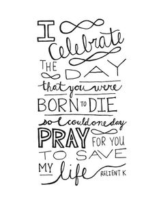 "Digital Download Christmas Print ""I Celebrate the Day Relient K"" Inspirational Religious Lyrics Hand Lettering Typography"