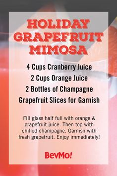 With tart citrus in season, this Holiday Grapefruit Mimosa recipe showcases all the delicious flavors you love. Including hints of cranberry, orange, and grapefruit, check out the selection of bubbly from BevMo! to choose the best champagne for your cocktail creation!