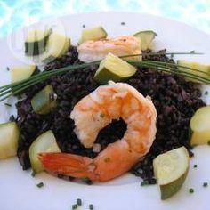 Foto recept: Zwarte rijst met garnalen en courgette