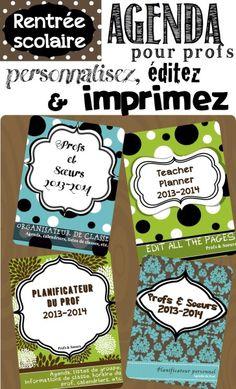 Planificateur complet; Agenda à personnaliser, calendriers 2013-2014, listes de classe, etc.