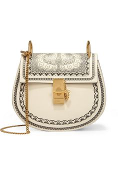 Drew small embossed textured-leather shoulder bag