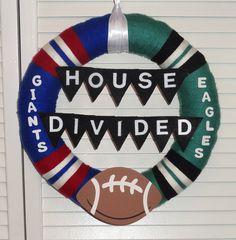 House Divided Giants vs. Eagles Yarn Wreath by KimLKrafts on Etsy, $50.00