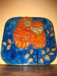 Karlsruher Majolika Wandbild Eulenpaar Nr. 7837 Relief Keramik Platte 70er Jahre