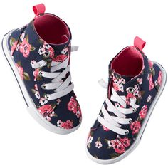 Carter's Floral High Tops ($8) ❤ liked on Polyvore featuring kids shoes