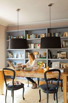 Discover inspiration for your home office design with ideas for decor, storage a. , Discover inspiration for your home office design with ideas for decor, storage a. Discover inspiration for your home office design with ideas for de. Home Office Space, Home Office Design, Home Office Decor, House Design, Home Decor, Office Designs, Small Office, Family Office, Desk Space