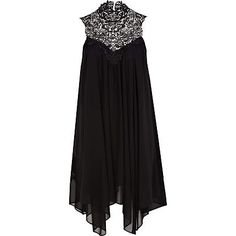"River Island - black lace high neck draped dress. Perfect for work Xmas party as ""wife of management""."