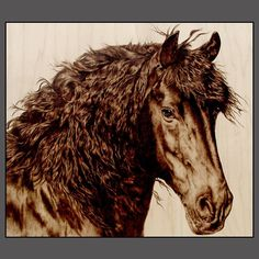 HORSE ART by Julie Bender, www.JulieBender.com Julie does pyrography, burning or scorching on a natural suface like wood or leather & she does beautiful work.