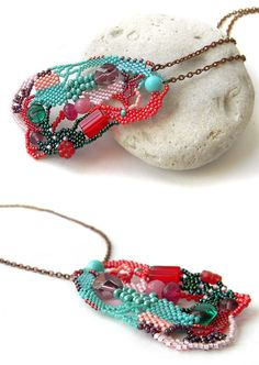 Colorful freeform pendant. OOAK.  Pendant size - 4,5 cm / 8,5 cm (1.8 / 3.4) Chain length - 68 cm (26.8)  More beaded necklaces and pendants from my