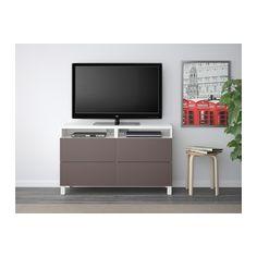 BESTÅ TV unit with drawers - white/Valviken dark brown, drawer runner, soft-closing - IKEA