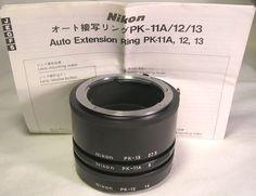 Genuine Nikon PK-11A, PK-12 & PK-13 Auto Extension Ring Set W/Instructions Mint #Nikon