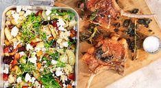 Salviastekt fläskkotlett med ugnsbakade grönsaker och smulad fetaost