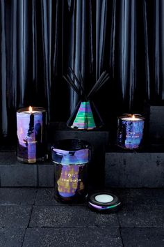 the staging of these products is great. dark iridescent, dark cement Oil Scent Family - Image courtesy of Tom Dixon