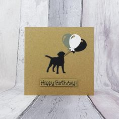 Your place to buy and sell all things handmade Happy Birthday Name, Funny Birthday Cards, Handmade Birthday Cards, Card Birthday, Pun Card, Cat Cards, Animal Cards, Black Labrador, The Balloon