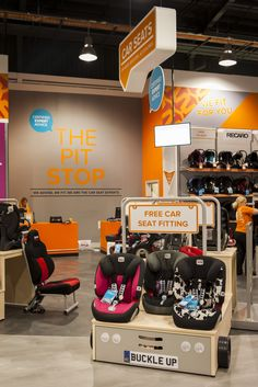 Find the perfect car seat in 'The Pit Stop'.