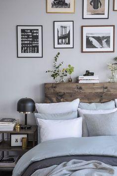 Loft Style Bedroom With Raw Wood Headboard Chic Deco Living Room Loft Style Bedroom, Bedroom Inspo, Dream Bedroom, Home Bedroom, Bedroom Decor, Calm Bedroom, Master Bedroom, Bedroom Ideas, Bedroom Designs