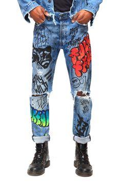 Jeans Ass, Jeans Denim, Painted Jeans, Painted Clothes, Custom Clothes, Diy Clothes, Legging Jean, Custom Denim Jackets, Diy Fashion