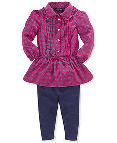 Ralph Lauren Baby Girls' 2-Piece Top & Pants Set - Kids - Macy's